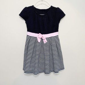 Gymboree Short Sleeves Striped Bow Dress 2T Black